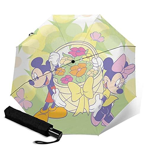 Paraguas plegable portátil de Mickey Minnie de dibujos animados para mujeres y hombres reforzado a prueba de viento marco impermeable y resistente a los rayos UV