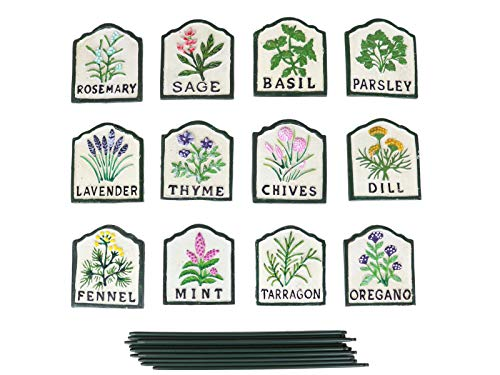 12pce Painted Herb Signs - Cast Iron Soil Markers