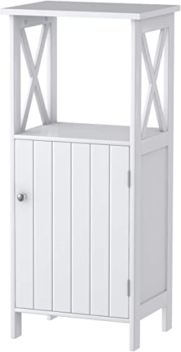 Giantex Floor Storage Cabinet Freestanding W/One Door Cabinet & Adjustable Shelf Bathroom Storage Organizer Cabinet,White