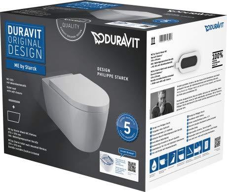 Duravit Wand-WC-Set ME by STARCK,rimless,Durafix TS,weiß,inkl.WC-Sitz mit Absenkautomatik, 45290900A1