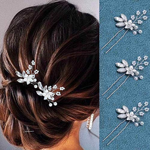 Heread Crystal Bride Wedding Hair Pins Silver Flower Bridal Head Piece Pearl Hair Accessories for Women and Girls (Pack of 3) (A Silver)