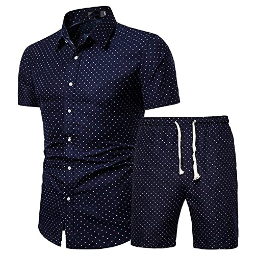 JanJean Herren Casual Set Kurzarm T-Shirt Kentkragen Hawaii Hemd und Kurze Hose Shorts mit Kordelzug Männer Sportanzug Outfits Freizeitanzug M-5XL A Navy Blau L