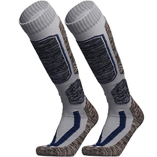 WEIERYA Ski Socks, Warm Knee High Performance Skiing Socks, Snowboard Socks (Grey 2 Pairs, X-Large)