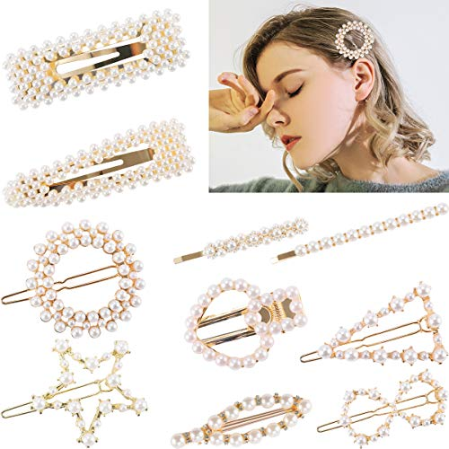 Price comparison product image Madholly 10pcs Fashion Artificial Pearl Hair Clips-Gold Flower Pearl Hair Pins Bobby Pins Hair Barrettes Decorative Bridal Snap Clips Hair Accessories for Women Girls Lady Wedding Party Daily Supply