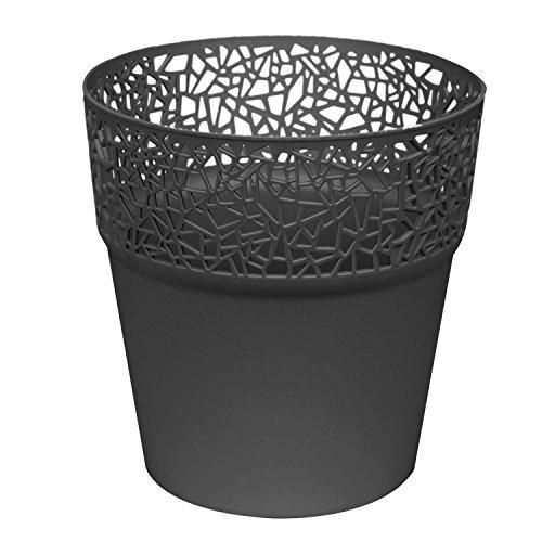 Pot de fleurs rond - En plastique - Diamètre : 17,5 cm - Anthracite