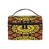 Makeup Bag, Mandala Tribal Print Portable Travel Case Large Print Cosmetic Bag Organizer Compartments for Girls Women Lady