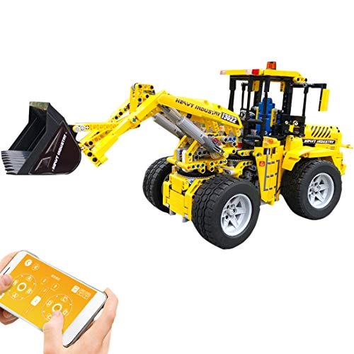 SICI Technik Frontlader Modellbausatz RC Bulldozer mit Motor, 1572 Teile Technic Ferngesteuert Raddozer Bagger Modell, MOC Bausteine Kompatibel mit Lego Technik