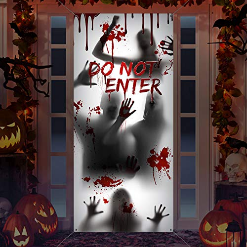 Large Halloween Window Door Cover Fabric Scary Bloody Handprint and Shadowy Figure Halloween Props Poster Banner for Halloween Haunted House Decorations Halloween Supplies (Do Not Enter)