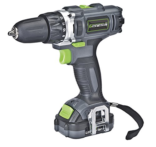 """Genesis GLCD122P 12V Lithium-ion Battery-Powered Cordless Variable Speed Drill/Driver with 3/8"""" Chuck, Trigger-Activated LED Light, 12V Battery, Charger and Double-Ended Screwdriver Bit"""