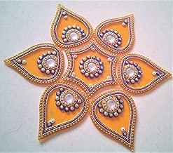 PRAHLL Flower Shape Designer Acrylic Rangoli (Set of 7 Pieces, 10-inch Diameter, Orange)