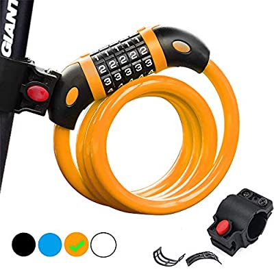 Bike Lock, 5-Digit Resettable Combination 47.24 Inch Heavy Duty Bike Lock, 4ft Cable Lock for Bike with Bracket, for Bicycles, Motorcycles, Electric Bicycles, Iron Sliding Doors, Glass Doors (Orange)