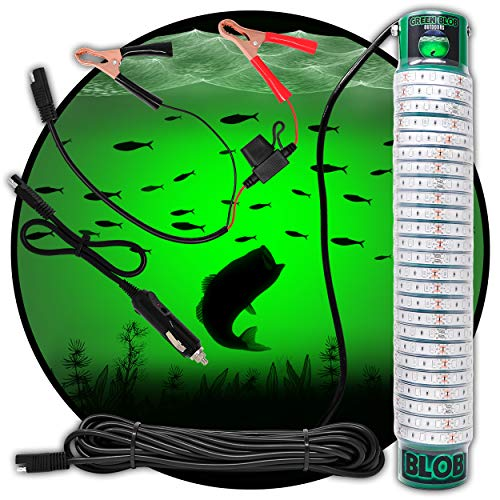 Green Blob Outdoors High Power 15000 Lumens New Fishing Underwater Light 12V with Extra Long 30ft Cord QD Alligator Clips & Cigarette Lighter Adapters Included LED Fish Attractor, Made in Texas