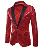 2018 Wintialy Charm Men's Casual One Button Fit Suit Blazer Coat Jacket Sequin Party Top Red