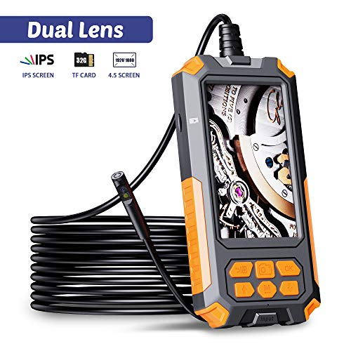 ILIHOME Dual-Kameras Endoskopkamera, Doppelkamera Dual Lens 4,5 Zoll IPS Bildschirm Endoskop, 8 Einstellbaren LED-Licht Inspektionskamera, 5 Meter Kabel Rohrkamera, 3500mAh Akku, 32GB TF Karte
