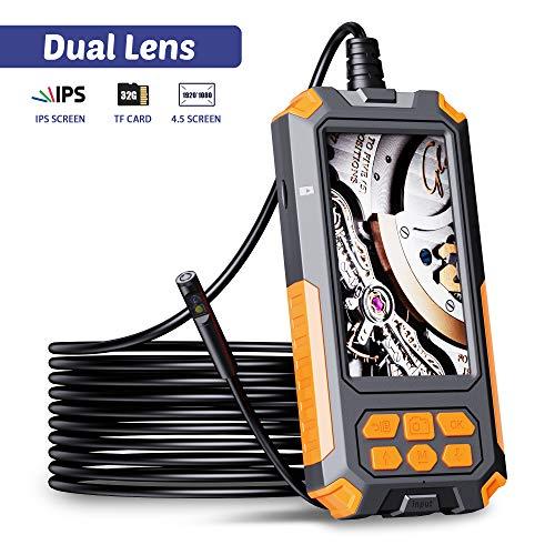 ILIHOME Dual Kameras Endoskopkamera, Doppelkamera Dual Lens 4,5 Zoll IPS Bildschirm Endoskop, 8 Einstellbaren LED-Licht Inspektionskamera, 5 Meter Kabel Rohrkamera, 3500mAh Akku, 32GB TF Karte