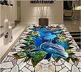 Pegatinas De Suelo Custom Photo 3D Flooring Self-Adhesive Vinyl Wallpaper Sea World Dolphin Coral Brick Wall Living Room Home Decor Mural Wallpaper-430*300Cm Art Living Room Decor Multicolor Elegant