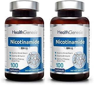 B3 Nicotinamide 500 mg 100 Caps 2 Pack - Natural Flush-Free Vitamin Formula | Gluten-Free Nicotinic Amide Niacin | Support...