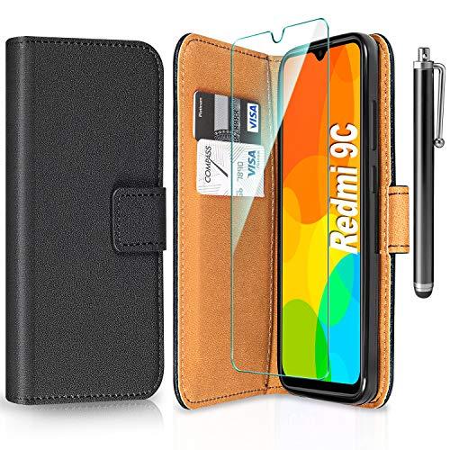ivencase Handyhülle Kompatibel mit Xiaomi Redmi 9C Hülle mit Schutzfolie & Touch Stylus Pen, PU Leder Wallet Flip Hülle Brieftasche Tasche Etui Handyhülle - Schwarz