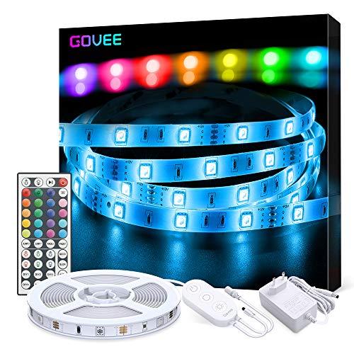 LED Strip Lichterkette, Govee 5m RGB Farbänderung LED Streifen Lichtband Selbstklebend mit Fernbedienung und Controller für Zuhause, Schlafzimmer, TV, Schrankdeko, Hell 5050 LED Band, Schnittbar