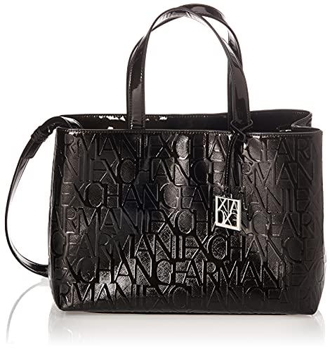 Armani Exchange Liz - Medium Open Shopping Tote, Negro (Nero - Black), 16x35x24 cm (B x H x T)