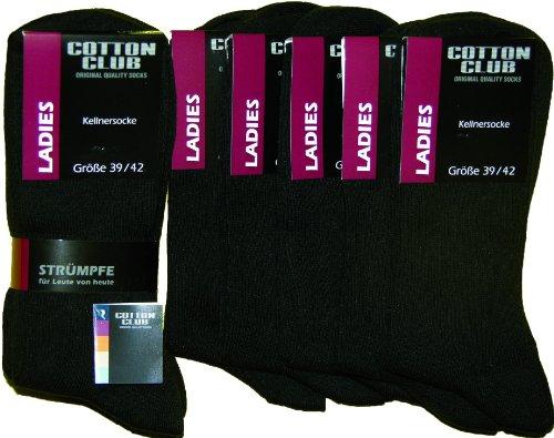 Cotton Club Damen-Berufssocke, schwarz 5er Pack (39-42)