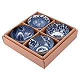 UPKOCH Set di 4 ciotole in porcellana blu e bianco in stile giapponese, per cereali, zuppa...