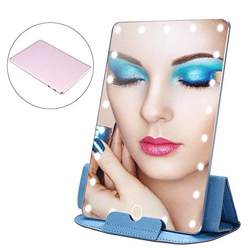 Make-upspiegel met ledverlichting, luxueus instelbaar licht, Smart Touch instellingen, USB-oplaadbare make-upspiegel met beschermleer, voor cosmetica onderweg, 20 x 13,5 cm
