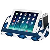 LapGear Designer Microbead Tablet Pillow Stand with Phone Pocket - Navy Ikat - Fits Most Tablet Devices - Style No. 35523