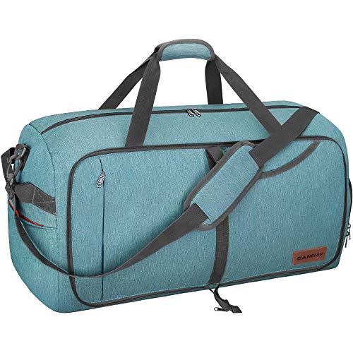 CANWAYボストンバッグ 折りたたみスポーツバッグ スーツケース固定 大容量 靴収納旅行バッグ 軽量 (グリーン, 85L)