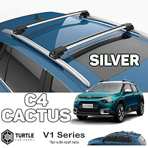 TURTLE Citroen Cactus Picasso - Barra transversal para techo, color plateado