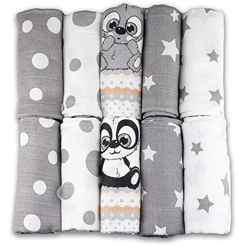 Mullwindeln - Mulltücher - 10er Pack 70x80 cm - Stoffwindeln, MADE IN EU, doppelt gewebt - schadstoffgeprüft - Spucktücher für Jungen und Mädchen - Baby Mullwindeln – grau - weiß