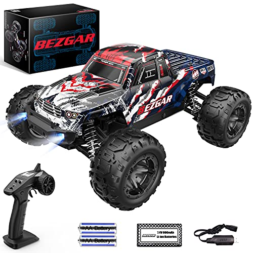 BEZGAR 7 Hobby Grade 1:16 Scale Remote Control Truck, 4WD High Speed 40+ Kmh All Terrains Electric Toy Off Road RC Monster Vehicle Car Crawler with Rechargeable Batteries for Boys Kids and Adults