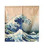 LIGICKY Cortina japonesa Noren para puerta Ukiyoe Hokusai The Great Wave off Kanagawa...