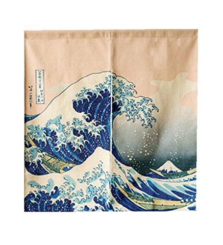 LIGICKY - Cortina Japonesa para Puerta de noren, ukiyoe Hokusai The Great Wave Off Kanagawa, Tapiz para Decoración del hogar, 85 x 90 cm