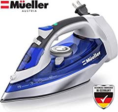 🔎 FASTER HEATING - Mueller Retractable Steam Iron only takes 3 seconds for steam to regenerate and reach max temperature in less than a minute much faster than traditional irons. 🔎 STAINLESS STEEL SOLEPLATE - Effortlessly glides over fabrics and allo...