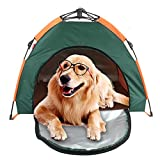 Hktec Tienda de campaña para mascotas, portátil, resistente al agua, plegable, para gatos, perros, caseta de lluvia, protección solar, camping, playa de arena, patio trasero, tienda de campaña