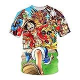 Camiseta De One Piece Monkey D. Luffy Camiseta Estampada En 3D Con Estampado De Anime Unisex Manga Corta De Cosplay Del Cuello Barco Tops Sudaderas, Casual Diario / Fiesta -HZ018(Size:Extragrande)