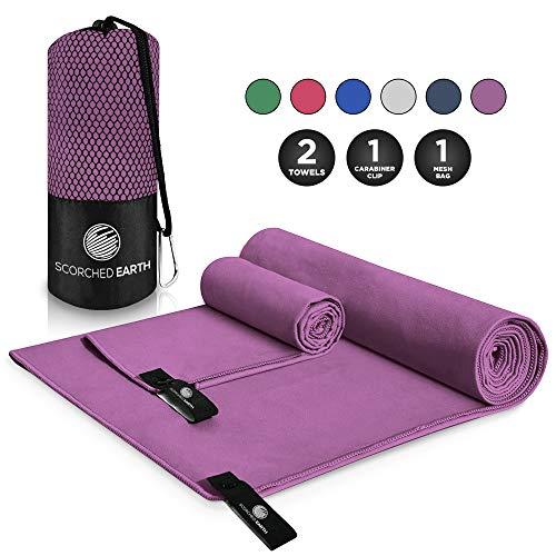 ScorchedEarth Microfiber Travel & Sports Towel Set (Ultra Violet) - XL Set (39x70.5 & 12x24)