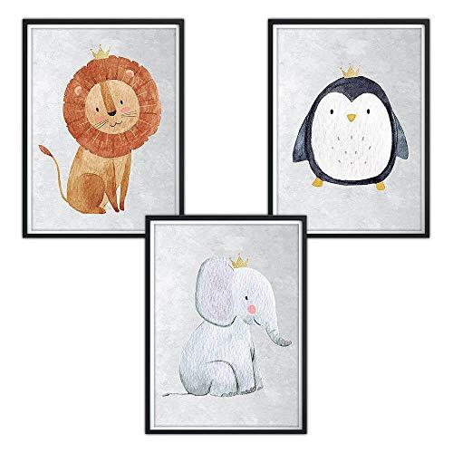 luvel–Juego de 3DINA4Póster para la habitación y el marco de fotos baby habitaciones imágenes, niña niño decorativa, decoración habitación de los Niños P30 Talla:21 x 29,7 cm