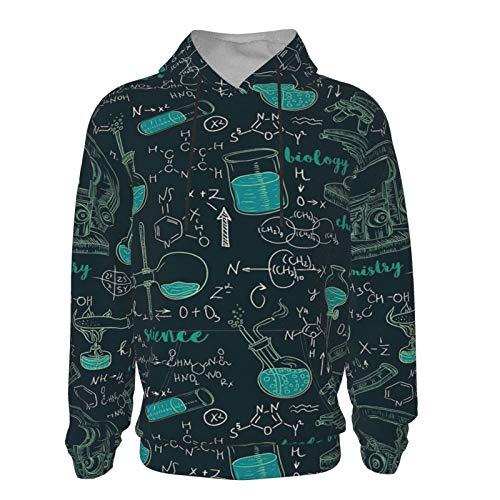 Vintage pattern chemistry laboratory with formulas Teens Novetly Hoodies 3D Print Pullover Hooded Sweatshirts with Pockets Black