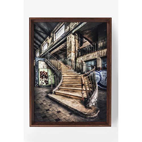 Kare Design Bild Frame Old Staircase Treppe Kunstdruck 80 x 60 x 6 cm