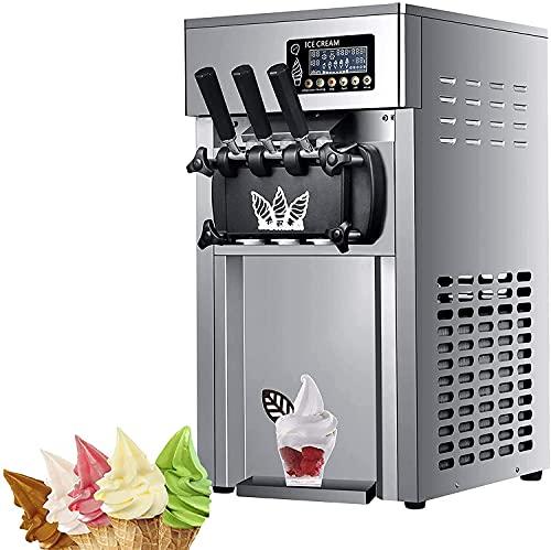 Macchina per gelato commerciale, gelato morbido che fa la macchina del display digitale del cono del cono con 3 sapori Desktop piccolo tamburo automatico dell'acciaio inossidabile con pulizia automati