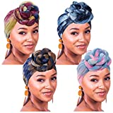 4 Pieces Tie Dye Stretch Jersey Turban Head Wrap Upgrade Urban Knit Hair Scarf Headwraps Urban Hair Scarf Solid Color for Braids Dreadlock Ultra Soft Extra Long Breathable Head Band Tie for Women