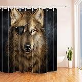 Nyngei Animal Decor Cortina de ducha de lobo de un ojo 180 x 180 cm, tela de poliéster...