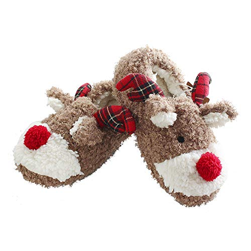 ANNALEMON Christmas Slippers for Women Fuzzy Reindeer House Shoes with Memory Foam 9 Brown