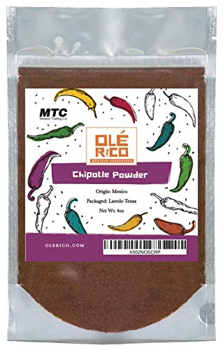 Chipotle Chile Powder 4 oz - Ground Chili Peppers All Natural No Salt Added Great For Mexican Recipes, 4 oz Total Weight by Ole Rico