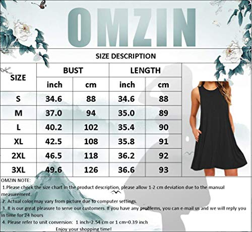 OMZIN - Vestido de verano para mujer, estilo informal, holgado, sin mangas, con forma de camiseta larga, tallas XS-XXXL Flores Fk Lila. M-36/38/40