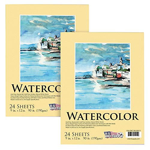 U.S. Art Supply 9' x 12' Premium Extra Heavy-Weight Watercolor Painting Paper Pad, 90 Pound (190gsm), Pad of 24-Sheets (Pack of 2 Pads)