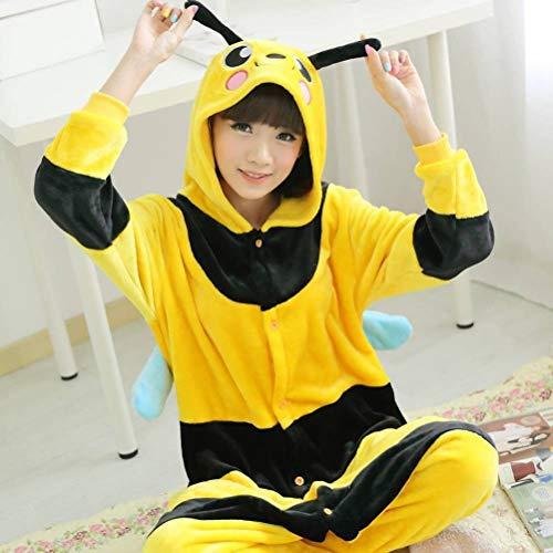 Pijamas Unisex Adultos Animales Onesies Franela Hembra Hogar Pijamas de Animales Unidos Dibujos Animados Abeja Otoño Pijamas Masculinos Invierno Engrosamiento, JUSTTIME, abeja, XL