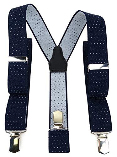 TigerTie Unisex Hosenträger in Y-Form mit 3 extra starken Clips - Farbe in dunkelblau marine silber gepunktet - hochwertige Verarbeitung - Breite 35 mm